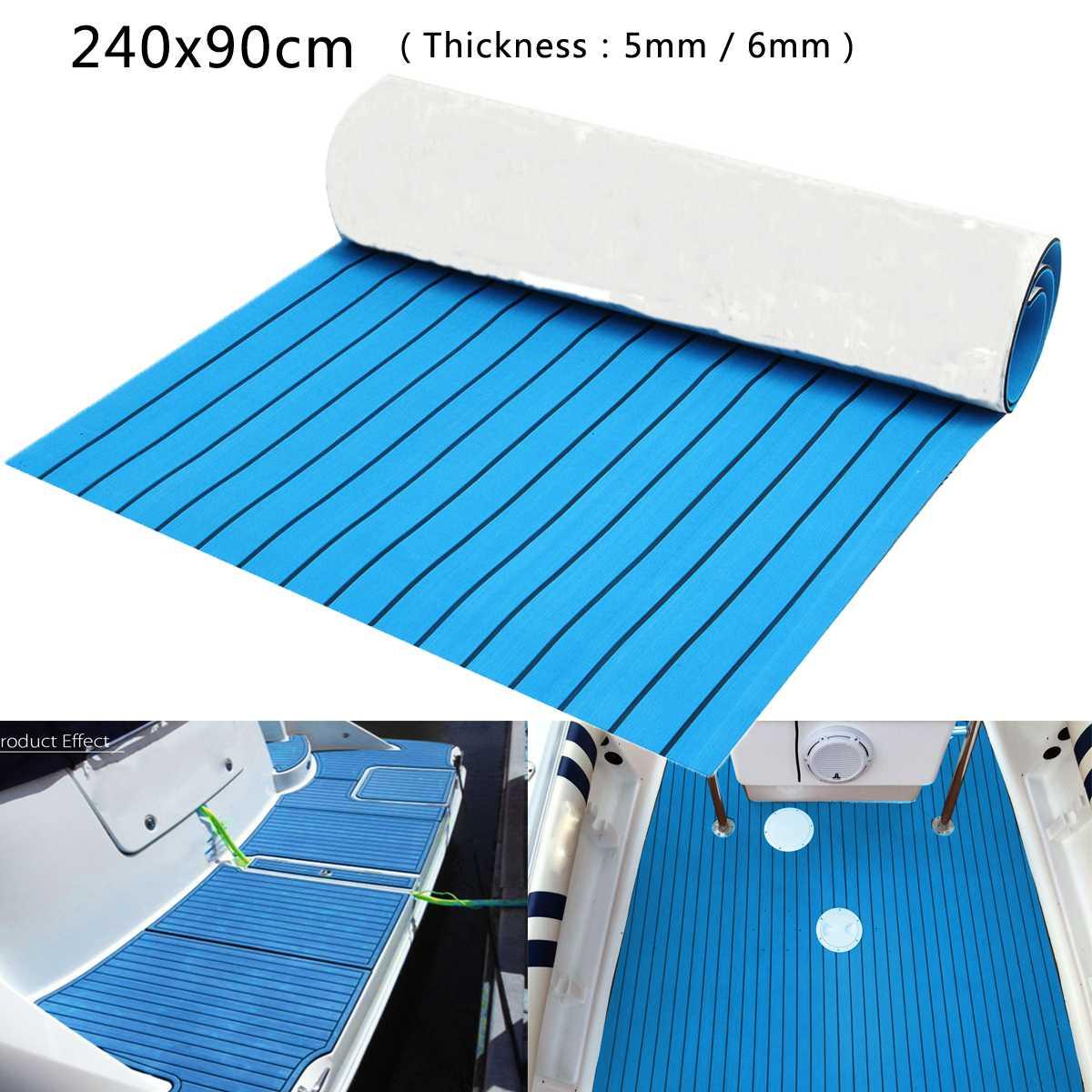 5mm/6mm 240x90cm EVA Foam Boat Flooring Faux Teak Decking Sheet Pad For Yacht RV CAR Boat Blue Black Lines