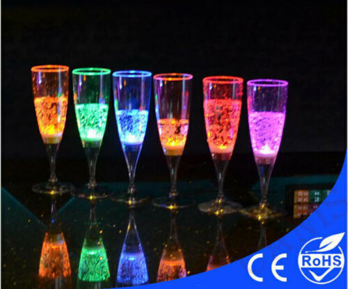 LED Drink Flashing Light Glow Champagne Martini Margarita Wine Glass Cup Party  Smart Accessories