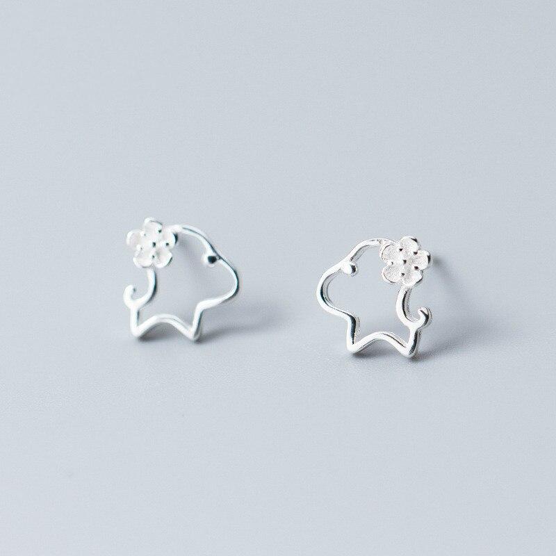100% 925 Sterling Silber Loyal Partner Französisch Bulldog Hund Tier Kleine Stud Ohrringe Für Frauen Schmuck