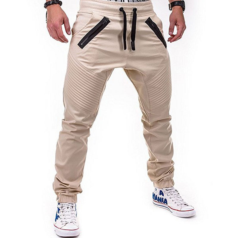 Men's Jogger Zipper Pockets Long Pants Autumn Fashion Male Skinny Fit Cargo Designer Chino Hip Hop Stretch Solid Color Pants