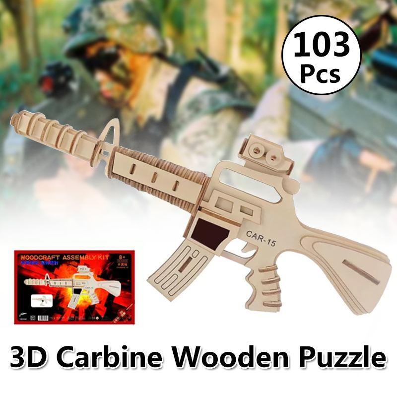 Madera Juguetes Revolver Construcción 3d Bloques Ensamblada Diy Pistola Carabina Rompecabezas De DEHIW29