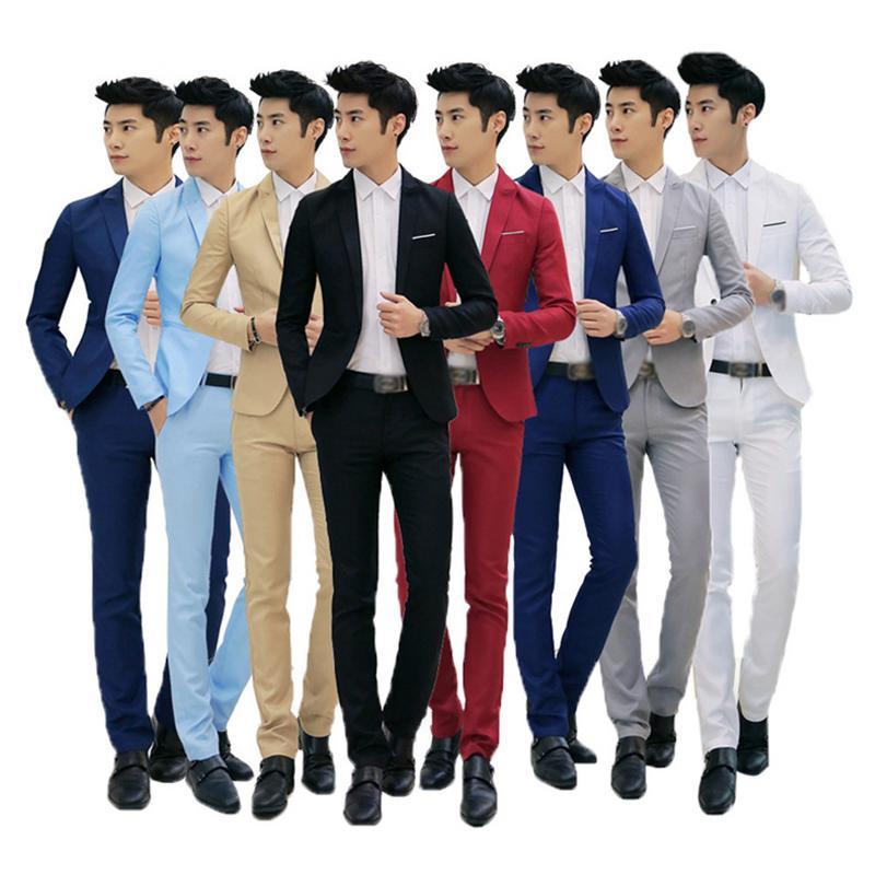 2018 Men Casual Style Suit Pants 2 Pieces Sets Slim Suits Wedding Party Blazers font b