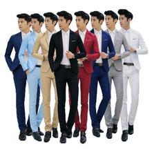 2018 Для мужчин Повседневное Стиль костюм + штаны комплекты из 2 предметов Slim костюмы Свадебная вечеринка пиджаки куртка Для Мужчин's Бизнес костюм друга жениха брюки наборы