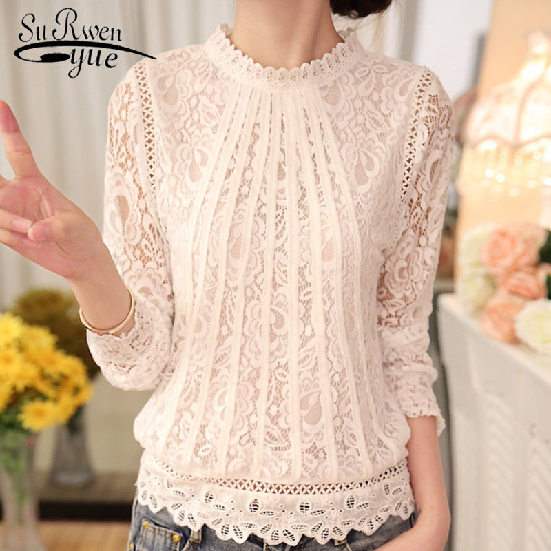 2018 New autumn Ladies White Blusas Women's Long Sleeve Chiffon Lace Crochet Tops Blouses Women Clothing Feminine Blouse 51C(China)