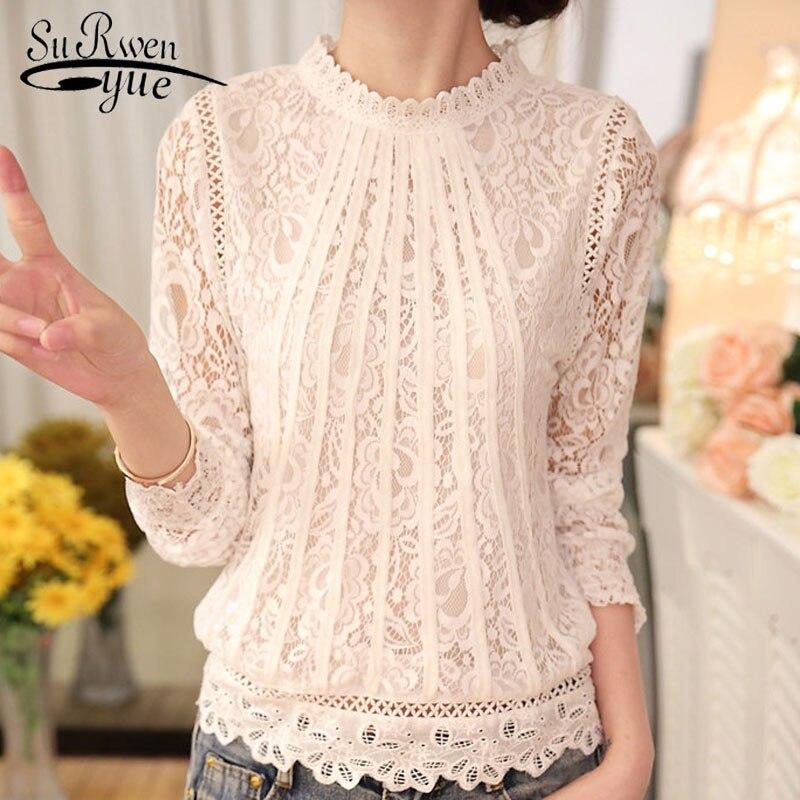 2018 nuevo otoño señoras blanco Blusas de manga larga de las mujeres Chifón con encaje de crochet Tops Blusas ropa mujer femenina blusa 51C