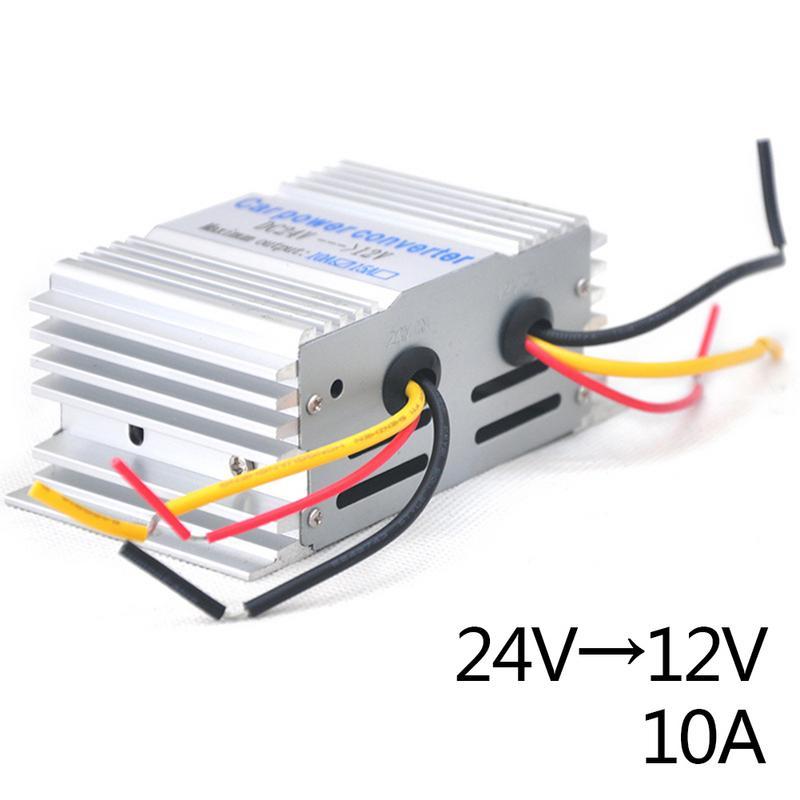 10a 24 v a 12 v 180 w potência do carro conversor de transformador step-down escudo da liga de alumínio