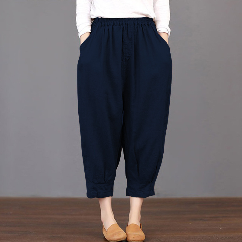 2019 Women Pockets Plain Loose Trousers Elastic Waist Harem   Pants   Mid Cargo Baggy Cotton Linen Pantalon Plus Size