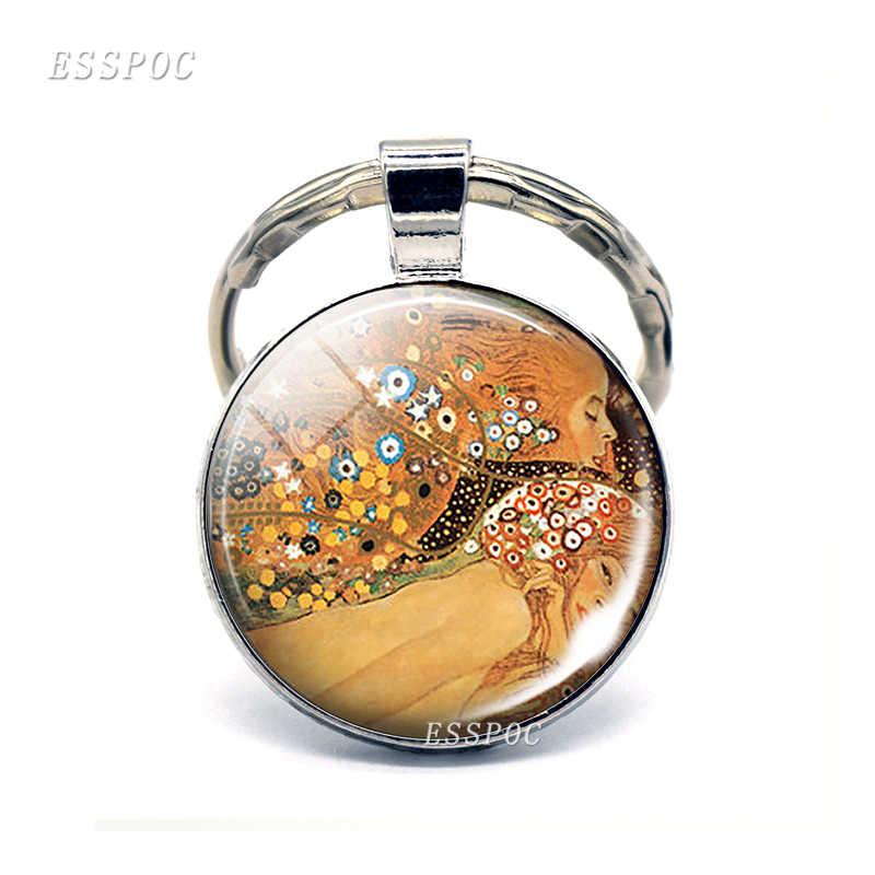 Знаменитое художественное Изображение брелок в виде губ Gustav Klimt стекло кабошон брелок кольца, ювелирные подарки для женщин мужчин любителей 2019