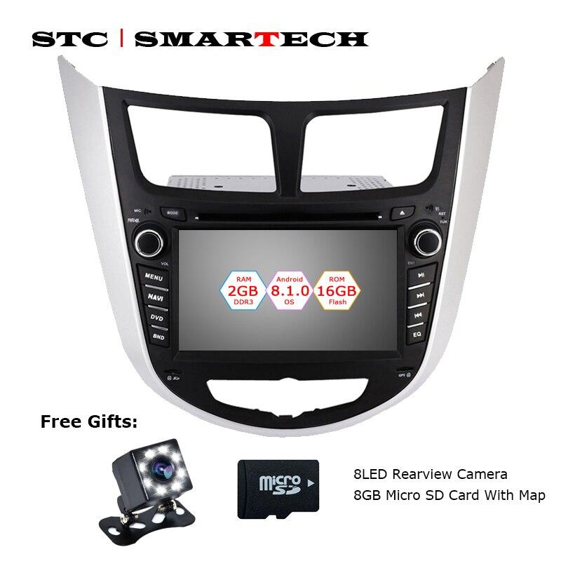 SMARTECH 2 Din Android 8.1 Car DVD Player GPS Navigation Car Radio For Hyundai Solaris accent Verna i25 Auto Radio Head Unit
