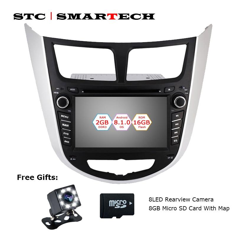 SMARTECH 2 Din Android 8.1 Voiture Lecteur DVD GPS Navigation Autoradio Pour Hyundai Solaris accent Verna i25 Auto Radio tête Unité