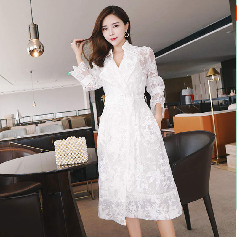 Spring Summer Lace Embroidered   Trench   Women Coat Fashion Elegant White Long   Trench   Ccasaco Feminino Windbreaker