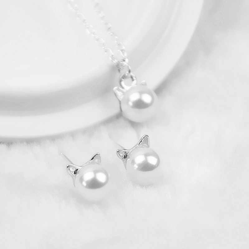 H9 Fashion Simulated Pearl Jewelry Sets Cute Cat Design Necklace Stud Earring For Women Wedding Jewelry Birthday Gift Wholesale