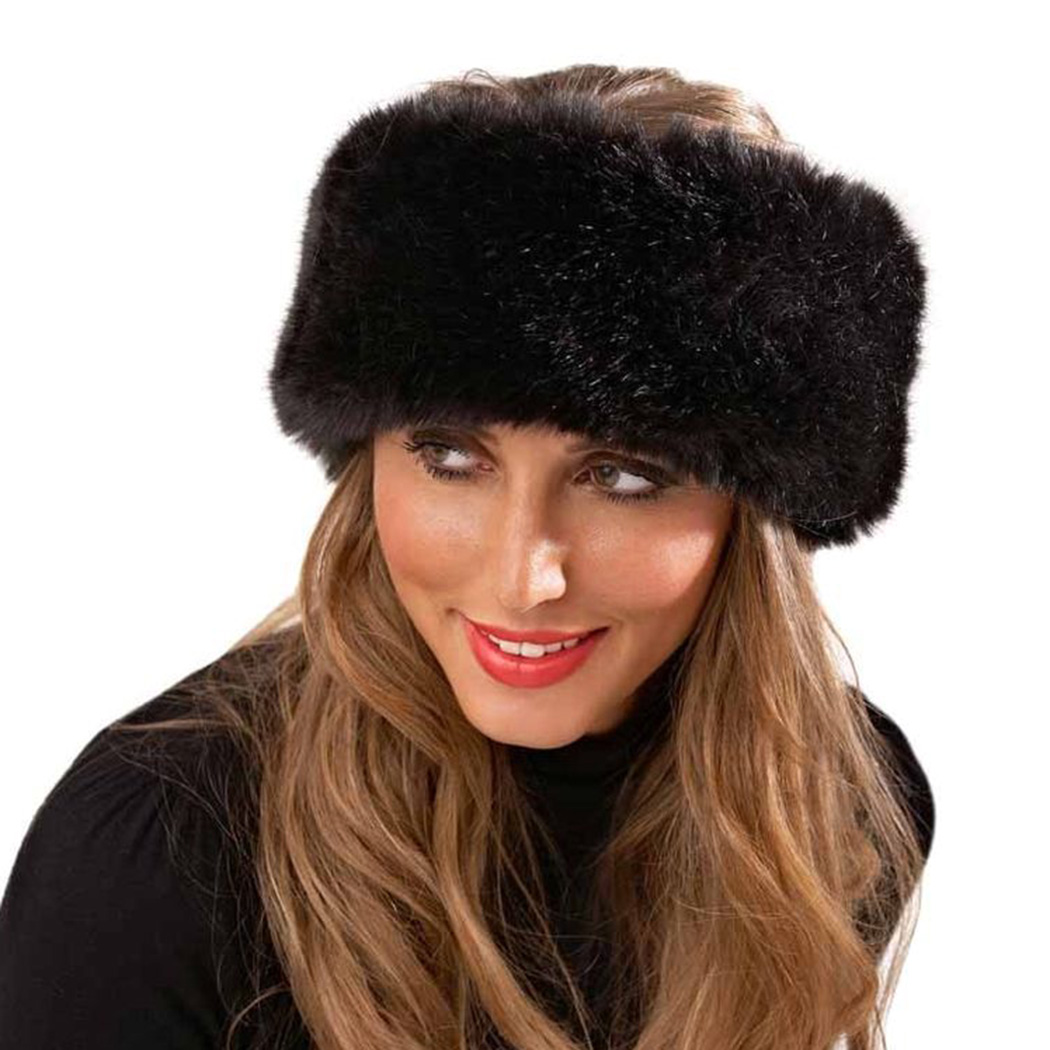 Russia Style Fox Fur Hat For Women Faux Fluffy Headband Russian Winter Thick Warm Ears Fashion Bomber Hat Winter Thick Warm Ears(China)