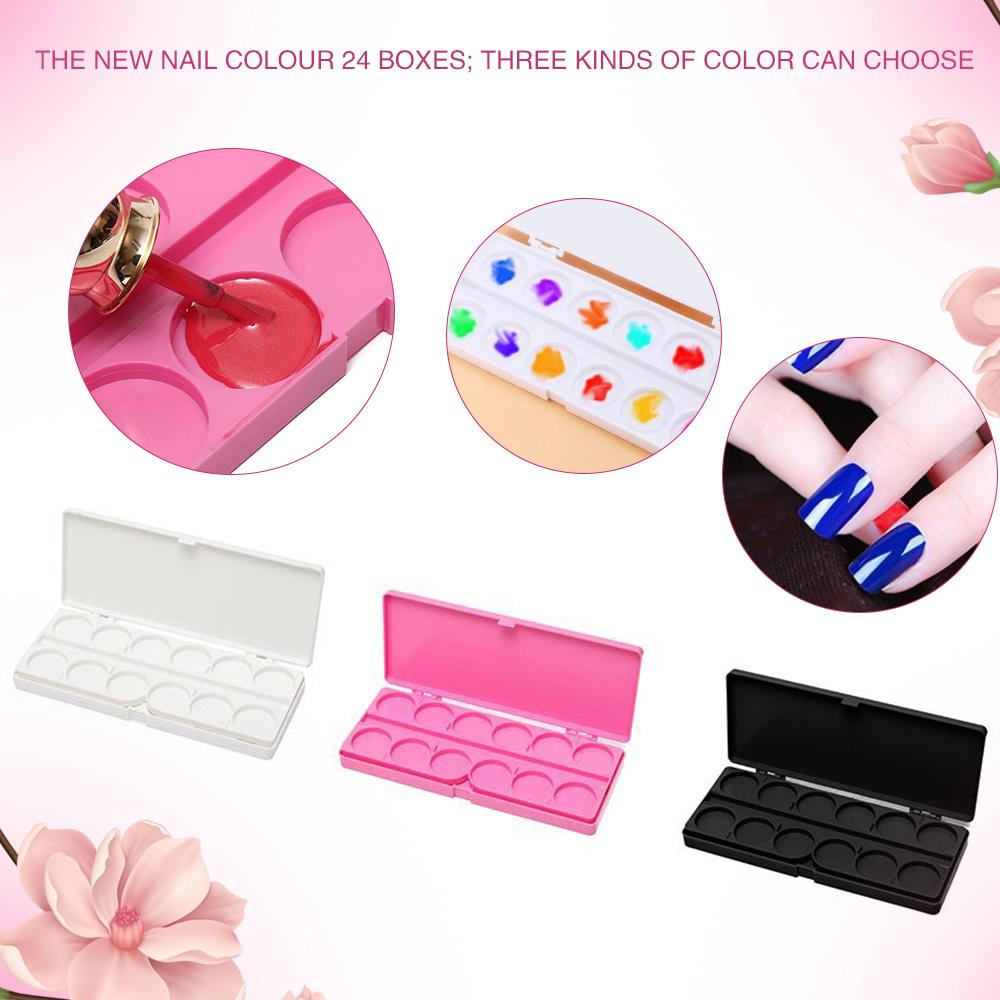 24 Grids Nail Art Color Palette Acrylic Gel Polish Holder Drawing Color Paint Dish Glue Display Photo Tool