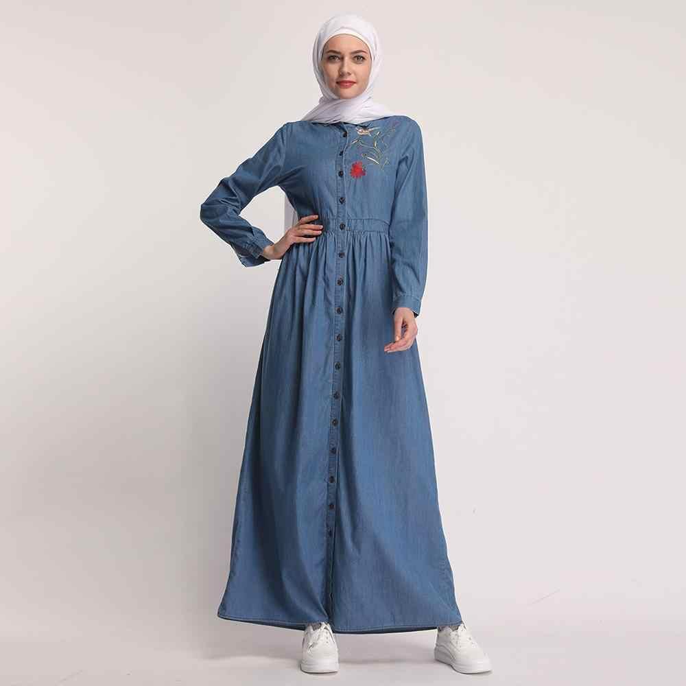 Женское джинсовое длинное платье однобортный мусульманский открытый кардиган с вышивкой тонкая женская одежда в мусульманском стиле Исламская, молитвенная одежда с вышивкой Новинка