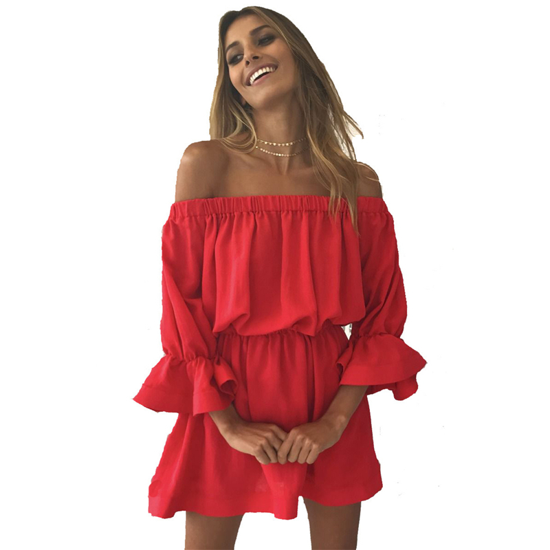 New Summer Dress Women Sexy Solid Off Shoulder Dress Casual Butterfly Sleeve Elastic Waist Slim Party Dresses Vestido Plus Size in Dresses from Women 39 s Clothing