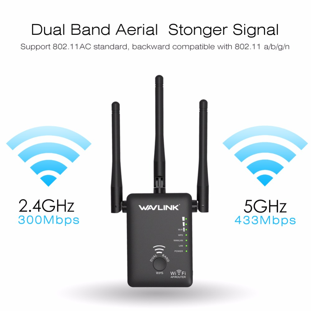 750Mbps 5GHz 2.4GHz Wireless Wifi Extender Repeater Router Network Booster Wireless Bridge With 3 External Antennas US/EU Plug