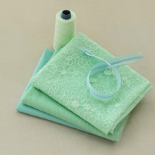 130-160cm Mint Green plant flower color matching lace embroidery fabric handmade DIY fabric skirt accessories(China)