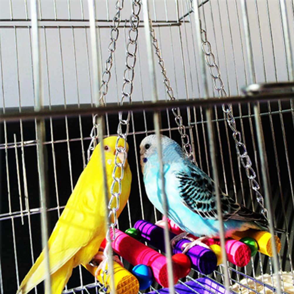 Bird Swing ของเล่น Parakeet Perches แขวนกรงของเล่นสำหรับ Conures นกแก้ว Parakeets Cockatiels Macaws Finches (สีสัน)