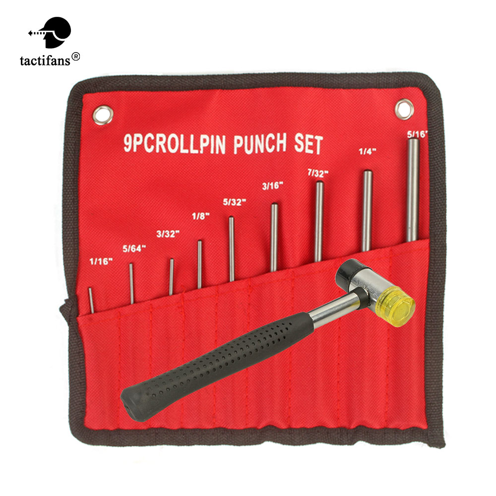 Professional Roll Pins Punch Set Bolt Catch Double-Faced Soft Rubber Mallet Hammer Tool Kit 9-pcs Roll Pin Punch Sets