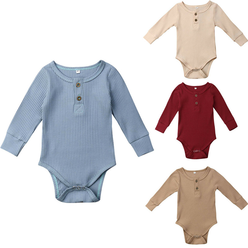 2019 New Spring Autumn Newborn Infant Baby Girl Boy Ribbed Bodysuit Ruffle One Pieces Solid Jumpsuit 2019 New Spring Autumn Newborn Infant Baby Girl Boy Ribbed Bodysuit Ruffle One-Pieces Solid Jumpsuit Long Sleeve Outfits Sunsuit