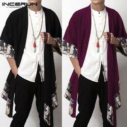 INCERUN Chinese Men's Cardigan Trench Coats Wide-Waisted Three Quarter Open Stitch Coat Jackets Irregular Hem Men Clohtes Hombre
