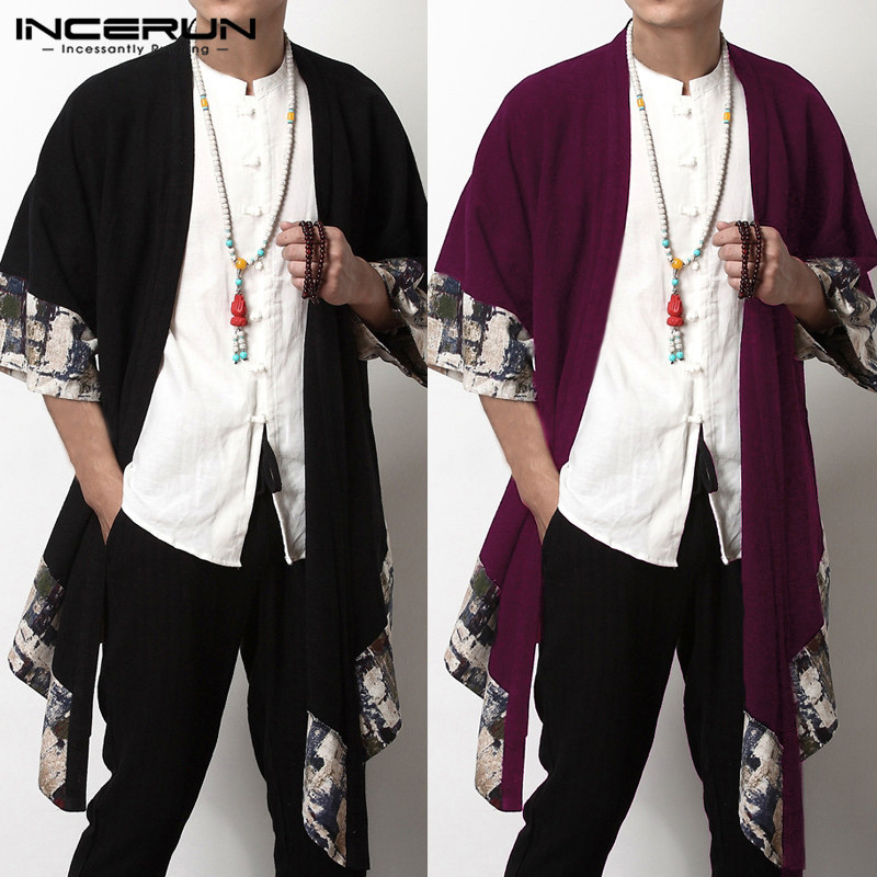 INCERUN chino hombres chaqueta abrigos-Cintura tres cuartos abierto punto  abrigo chaquetas dobladillo Irregular hombres ropa hombre