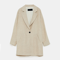 HDY Women Blazers And Jackets Long Sleeve One Button Blazer Autumn Lady Office Style Slim Fit Women Blazers 2019 Plus Size Beige