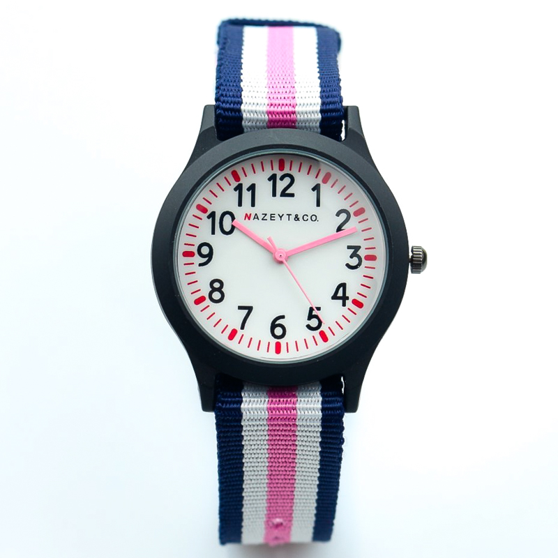 2019 New Fashion Child Army Watch Middle Boys Girls And Unisex Sports White Face Red Hands Quartz Watch Multi-color Nylon Clock