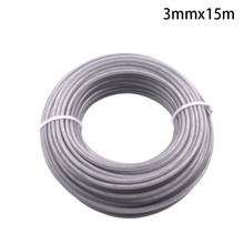 15m Long Trimmer Wire Cord Line 3mm Steel Gray for Strimmer Brush cutter Roll Grass Replacement