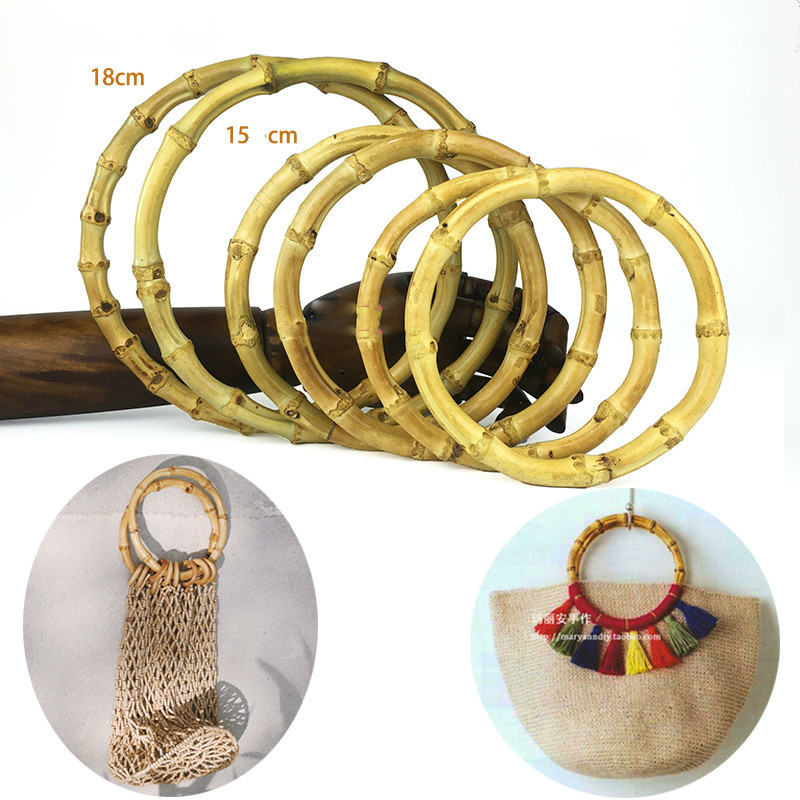 One Pair 13/15/18cm Nature Bamboo Bag Handle Bag Diy Accessories Vintage Round Bamboo Bag Hanger Bamboo Handle Bag Part Handmade