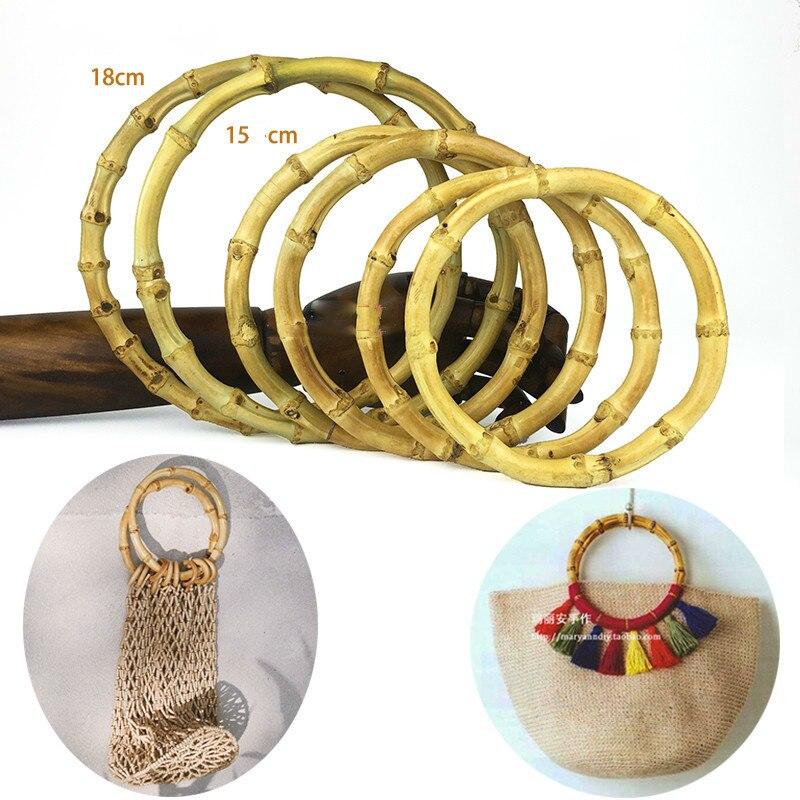 One Pair 13/15/18cm Nature Bamboo Bag Handle Bag Diy Accessories Vintage Round Bamboo Bag Hanger Bamboo Handle Bag Part Handmade