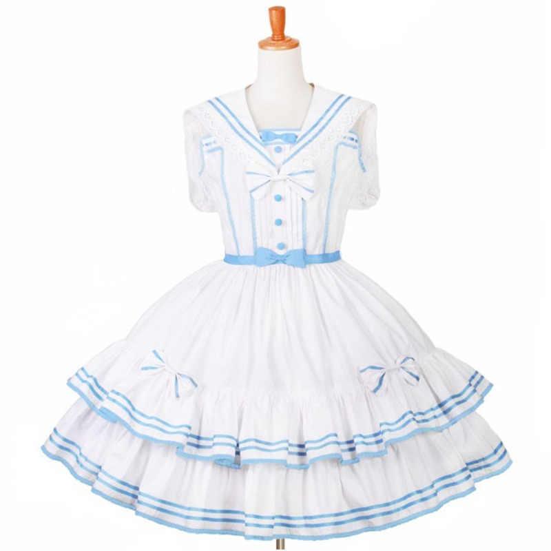 Estilo japonês mori menina lolita vestido de marinheiro colarinho kawaii bonito retalhos cor princesa maid traje palco bola vestido personalizado