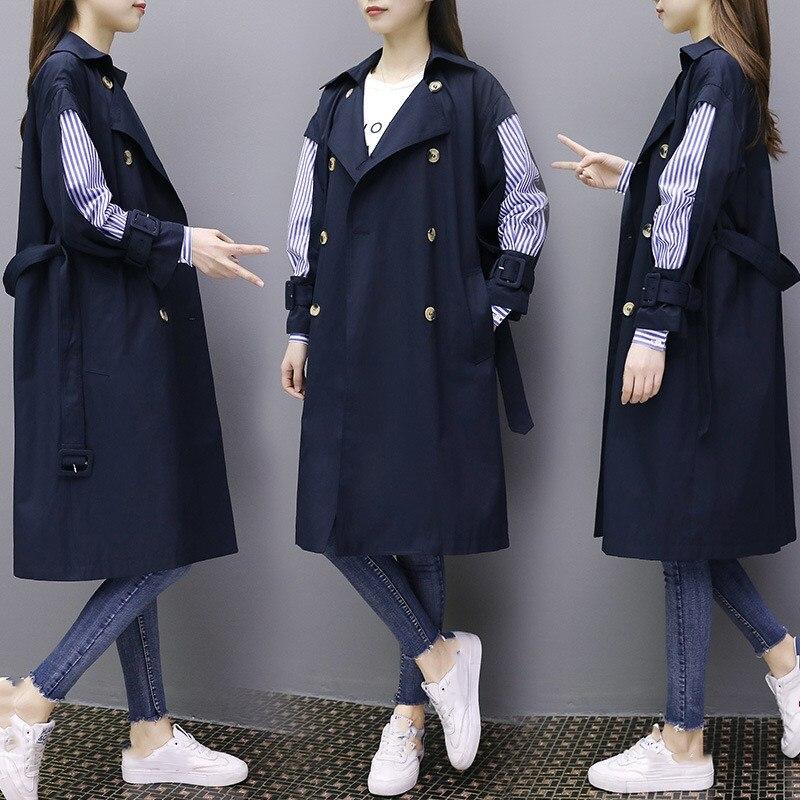Pour Femmes Bleu kaki Patchwork Office Lâche Bande Trench Long Lady Coupe Manteau vent Printemps coat 8nPXZN0kwO