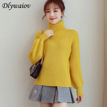 Mujeres Sueter Women Turtleneck Sweater Winter Fashion Lantern Sleeve Korean Ribbed Knitted Pullover Solid Color Pull Femme 2018
