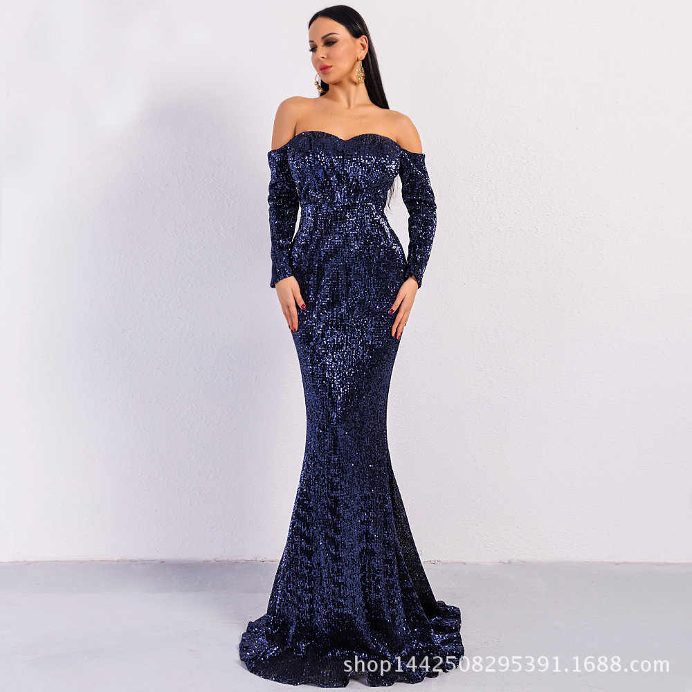 62c7a52b6d1 ... Vivian s Bridal 2018 Sexy Sweetheart Backless Mermaid Evening Dress Off  Shoulder Long Sleeve Navy Blue Rose ...