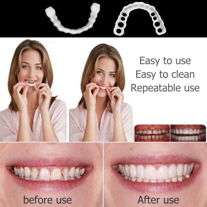 1Pair False Fake Tooth Cover Fake Teeth Upper Snap On Teeth Denture Oral Care Silicone False Teeth Cover Tooth Whitening Tools
