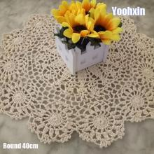 Modern Cotton Lace Crochet Doily Table Napkin Round Tablecloth Placemat Mat Cup Pad Drink Coaster Set Coffee Table Decorations