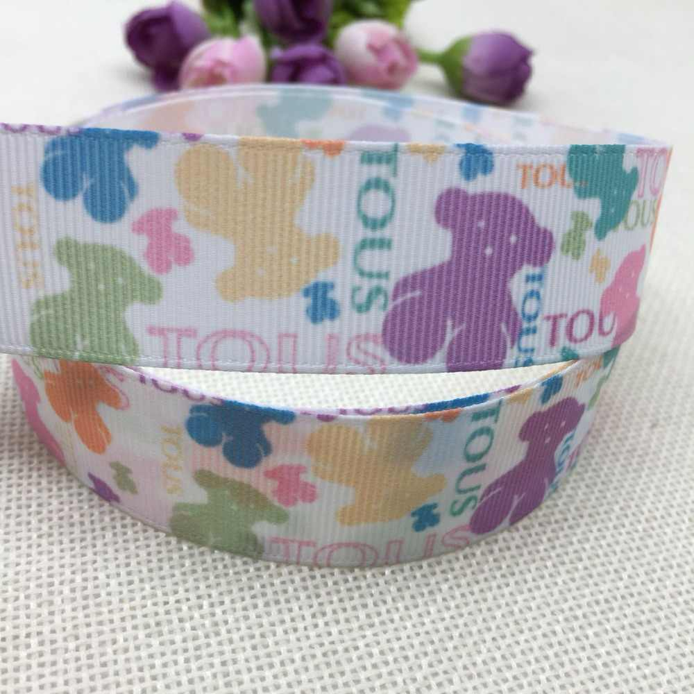 "1 ""25MM new sales 10 yard  cartoon cute cartoon bear printed ribbons DIY materials, accessory, gifts, crafts,packaging ribbon"