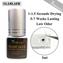 GLAMLASH 3 bottles/Lot 5/10ml 1 second fast dry individual eyelash extension glue adhesive strong Low Smell mink false lash
