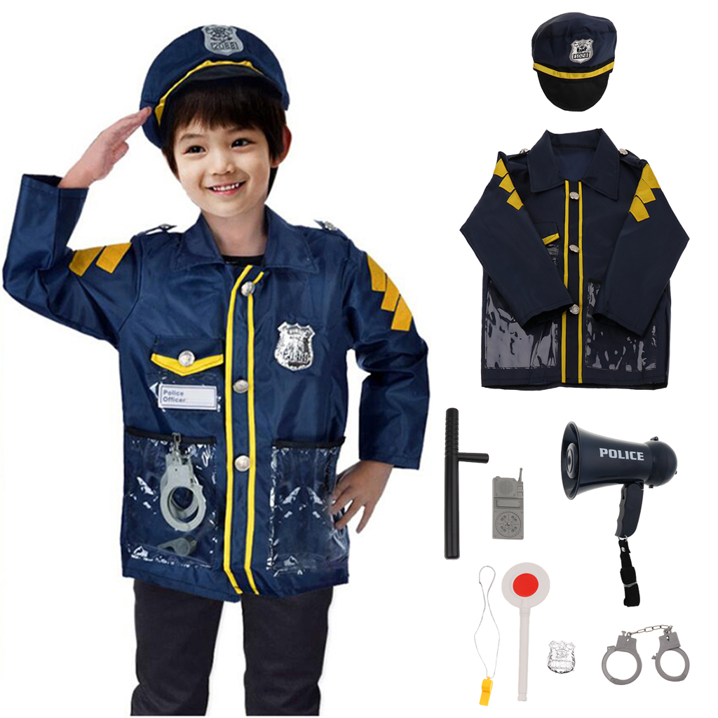 9pcs Pretend Police Officer Toy Outfit Clothes Megaphone with Siren Sounds for Fancy Dress Role Playing - Walkie-talkie Hat Accs9pcs Pretend Police Officer Toy Outfit Clothes Megaphone with Siren Sounds for Fancy Dress Role Playing - Walkie-talkie Hat Accs