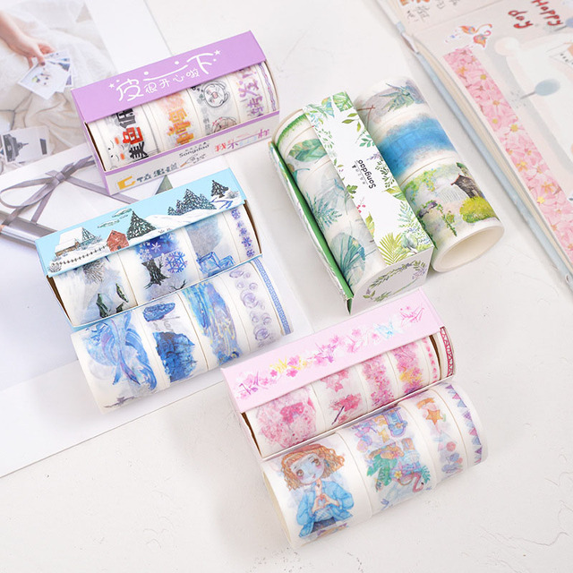 4/5/6Pcs Cute Leaves Masking Tape Kawaii Flower Washi Tape Decorative Adhesive Tape For Kid DIY Scrapbooking Diary Photos Albums 2