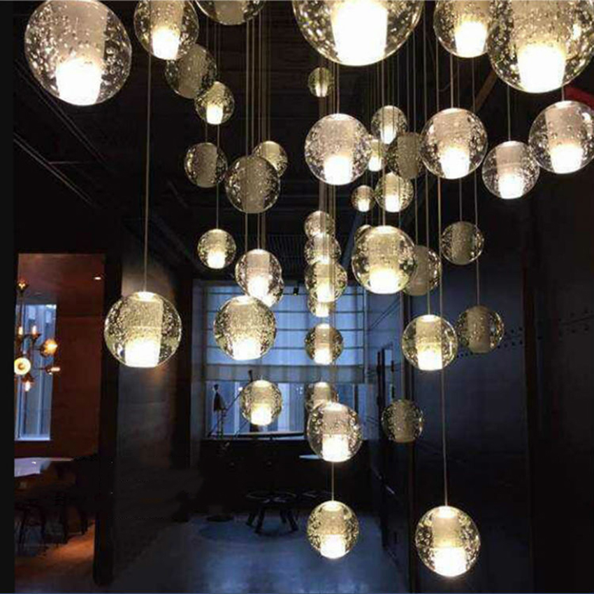 Nordic LED Pendant Lights Meteor Shower Crystal Glass Ball Pendant Lamps Lighting Personality Staircase Hanging Lamps FixturesNordic LED Pendant Lights Meteor Shower Crystal Glass Ball Pendant Lamps Lighting Personality Staircase Hanging Lamps Fixtures