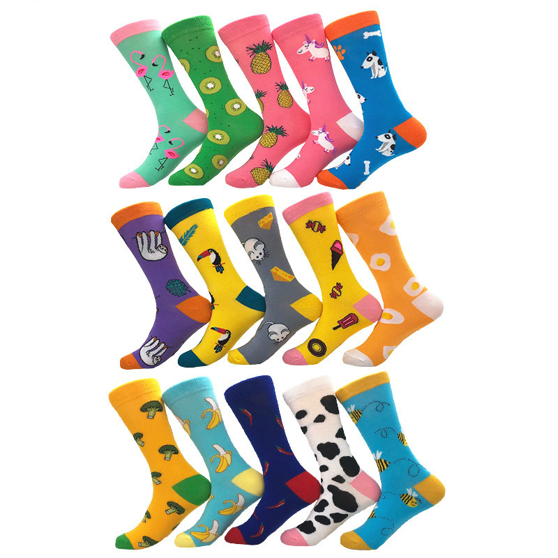 Men Cartoon Animal Flamingo Horse Dog Pineapple Banana Candy Egg Fruit Jacquard Happy Funny Socks Autumn Winter Harajuku Hip Hop