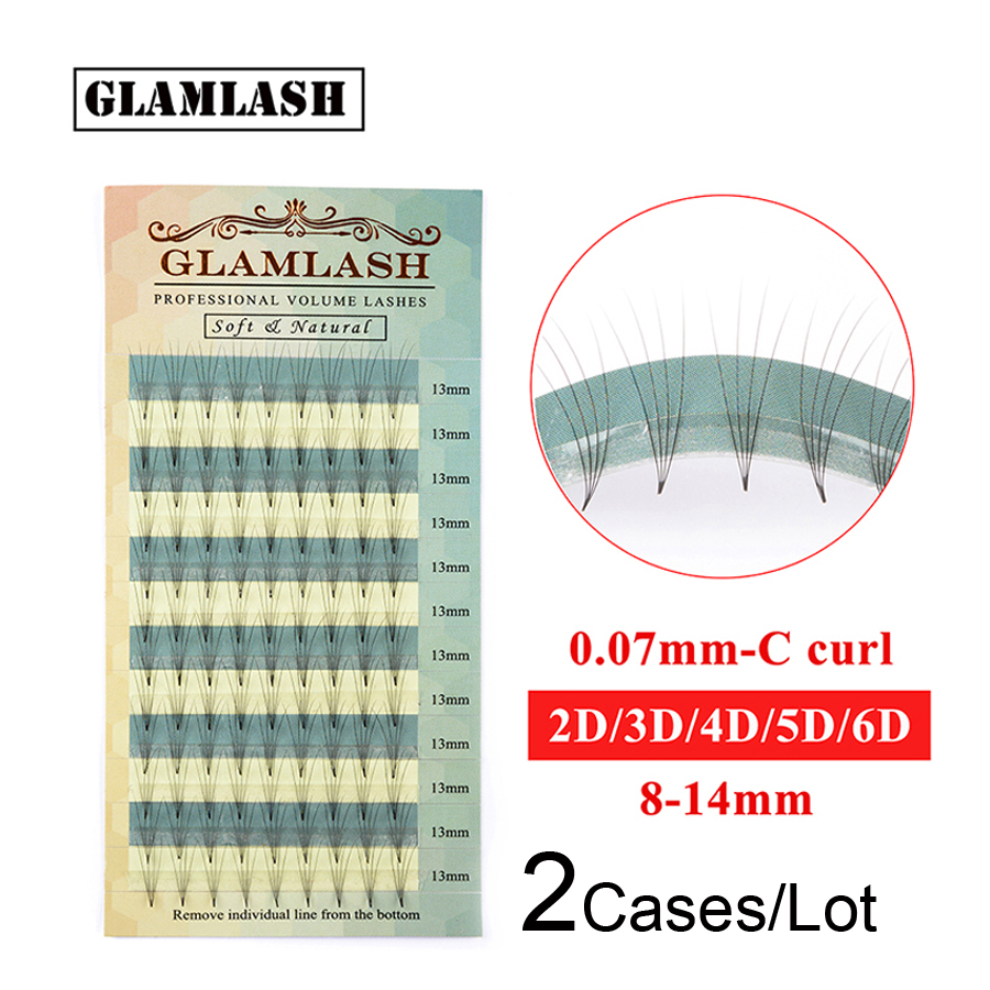 GLAMLASH Wholesale 2 Cases High Quality  2D 3D 4D 5D 6D Russian Volume Eyelash Extensions Premade Fan Faux Mink False Eye Lashes