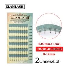 GLAMLASH Wholesale 2 Cases High Quality  2D 3D 4D 5D 6D Russian Volume Eyelash Extensions Premade Fan Faux Mink False Eye Lashes