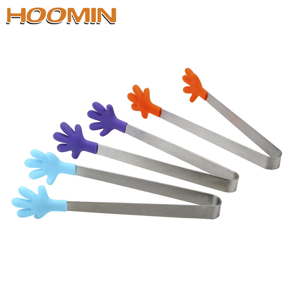 HOOMIN Salad Serving BBQ Tongs Stainless Steel Handle Utensil Creative Hand Shape Kitchen Cooking Tools Mini Silicone Food Clip