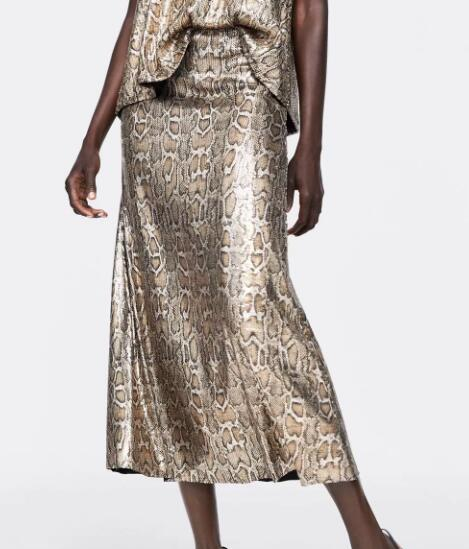 Autumn and Winter Snake Print Long Skirt Sequined High Waist Skirt Lady Fashion Streetwear 5