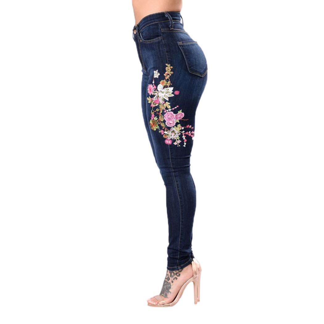 Women Fashion High Waist Floral Embroidery Stretchy Full Length Skinny All Seasons Causal   Jeans