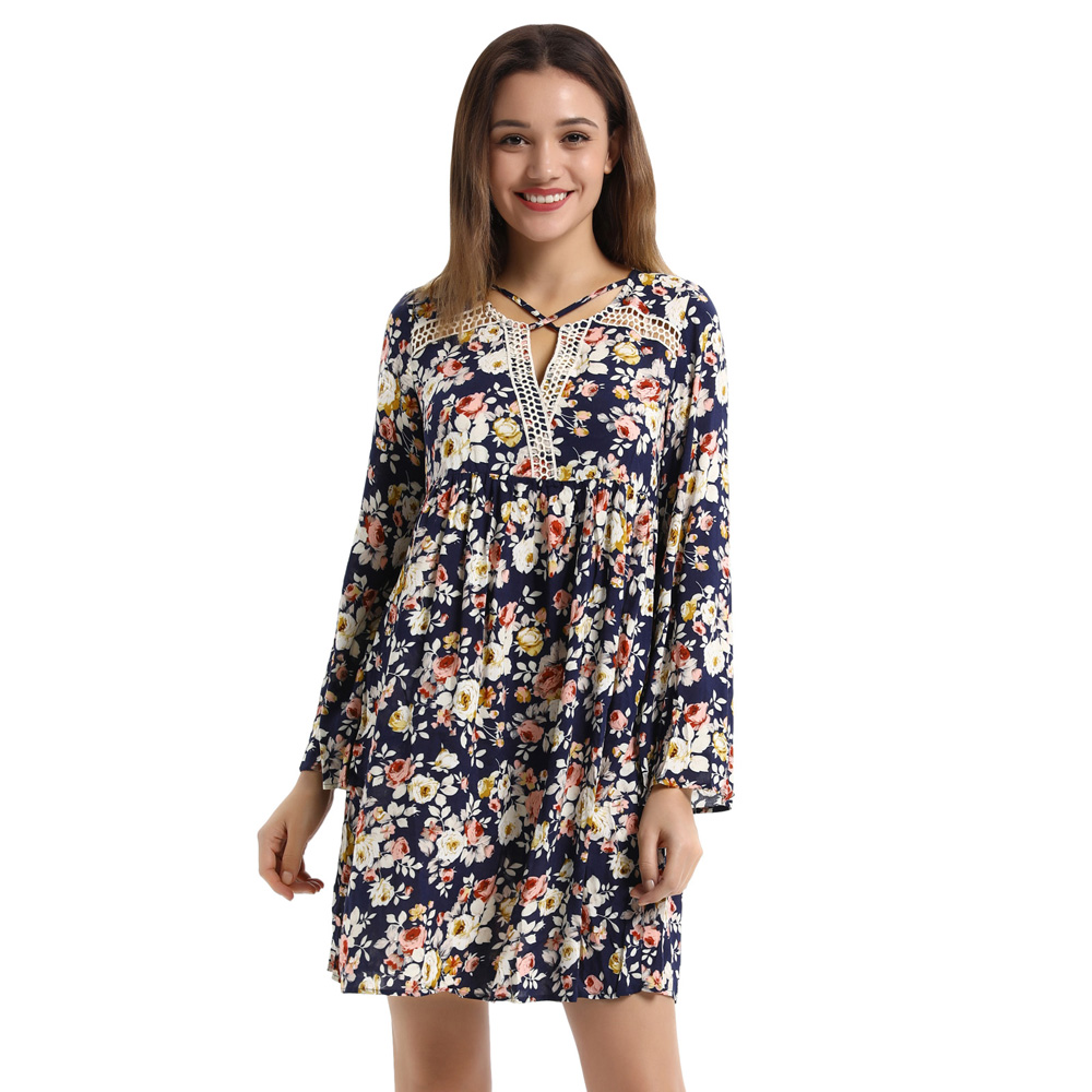 Womens Comfy Floral Pattern Long Sleeve Cotton A-Line Dress boho style ethnic dresses printing sexy beach wear ladies dress